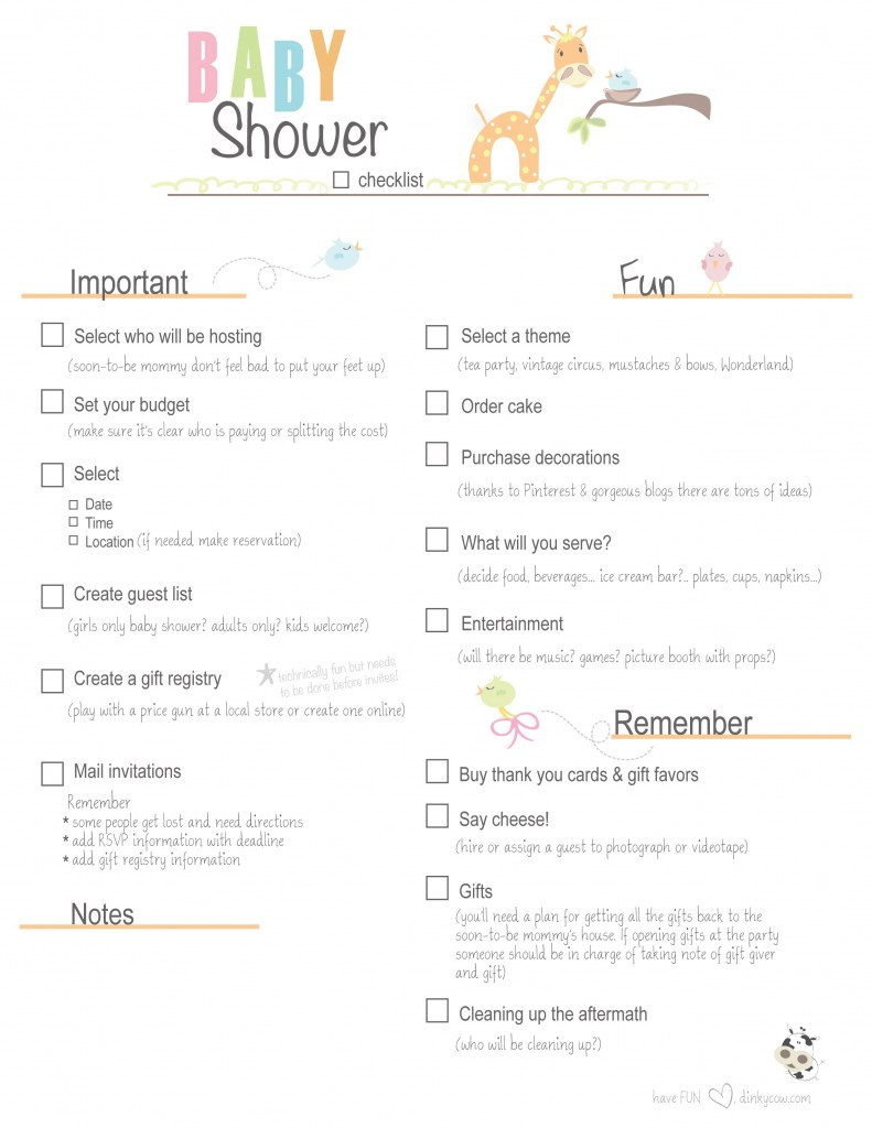 Inspirational Free Printable Baby Shower Checklist |  Paste The Link Below Into intended for Good quality When To Plan A Baby Shower