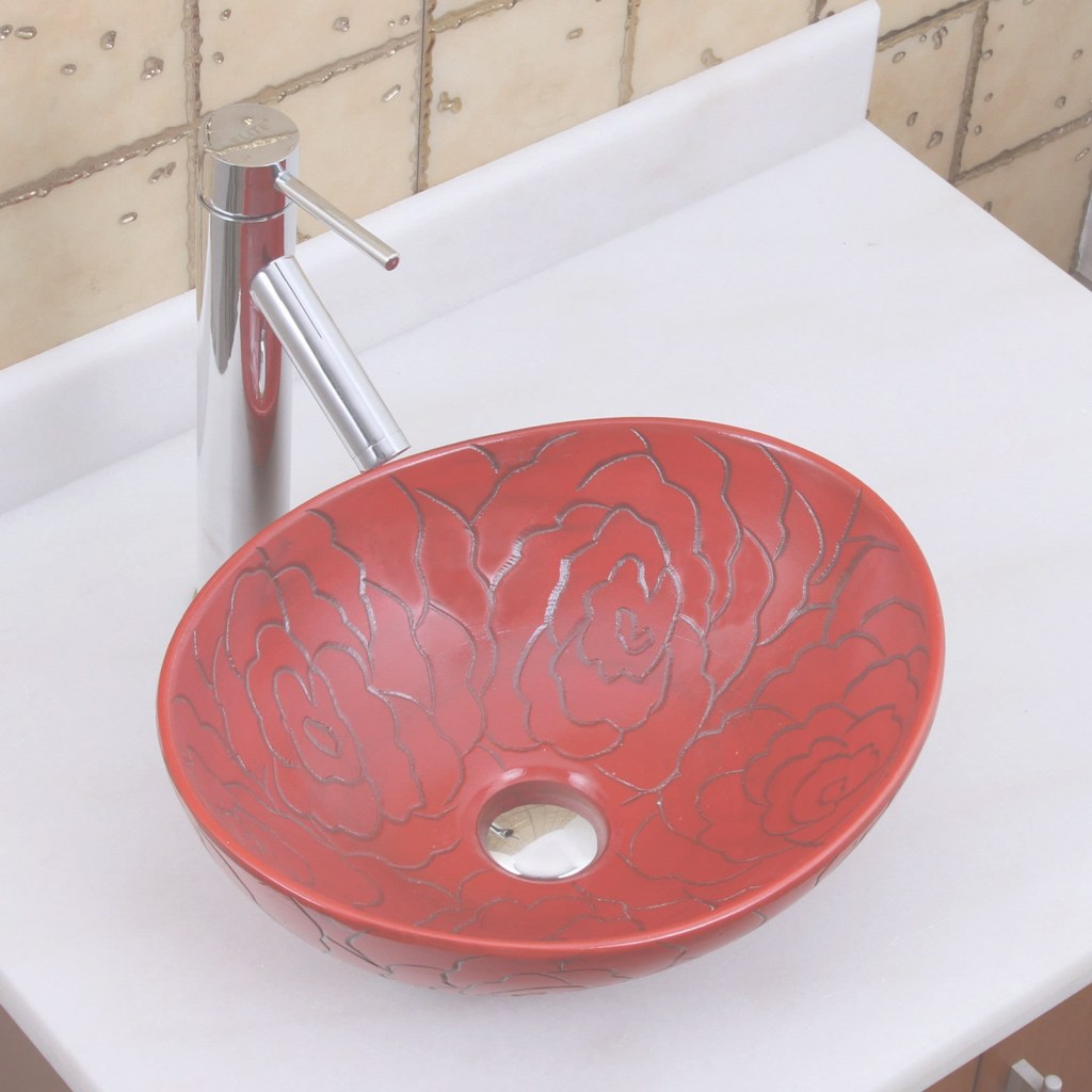 Inspirational Shop Elite 1557 Oval Red Rose Porcelain Ceramic Bathroom Vessel Sink inside Red Bathroom Sink