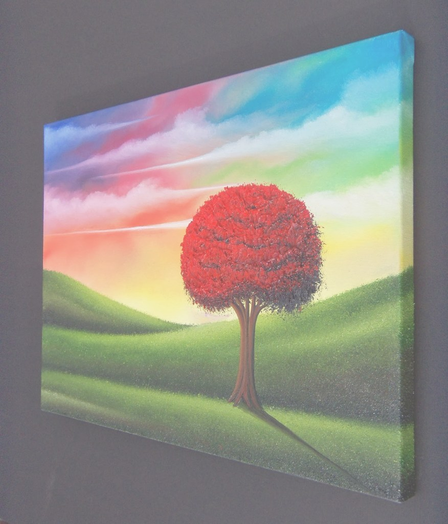 Lovely Colorful Art Landscape Painting, Art For Sale, Red Tree Painting regarding Set Landscape Pictures For Sale