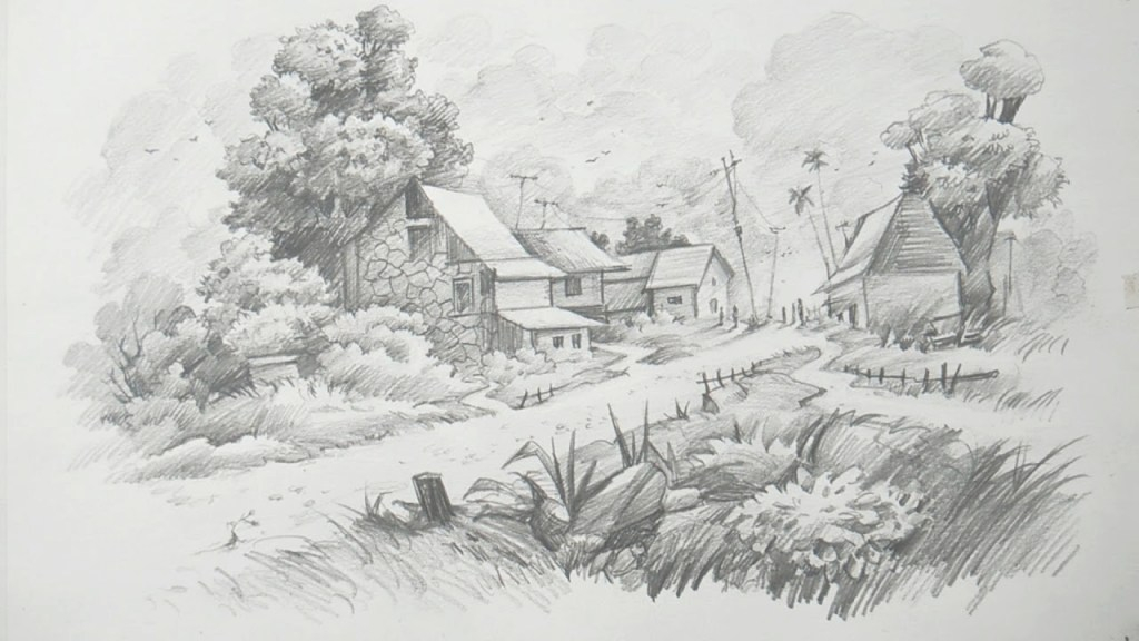 Lovely How To Draw A Landscape With Pencil Art - Youtube with regard to Awesome Landscape Drawing In Pencil