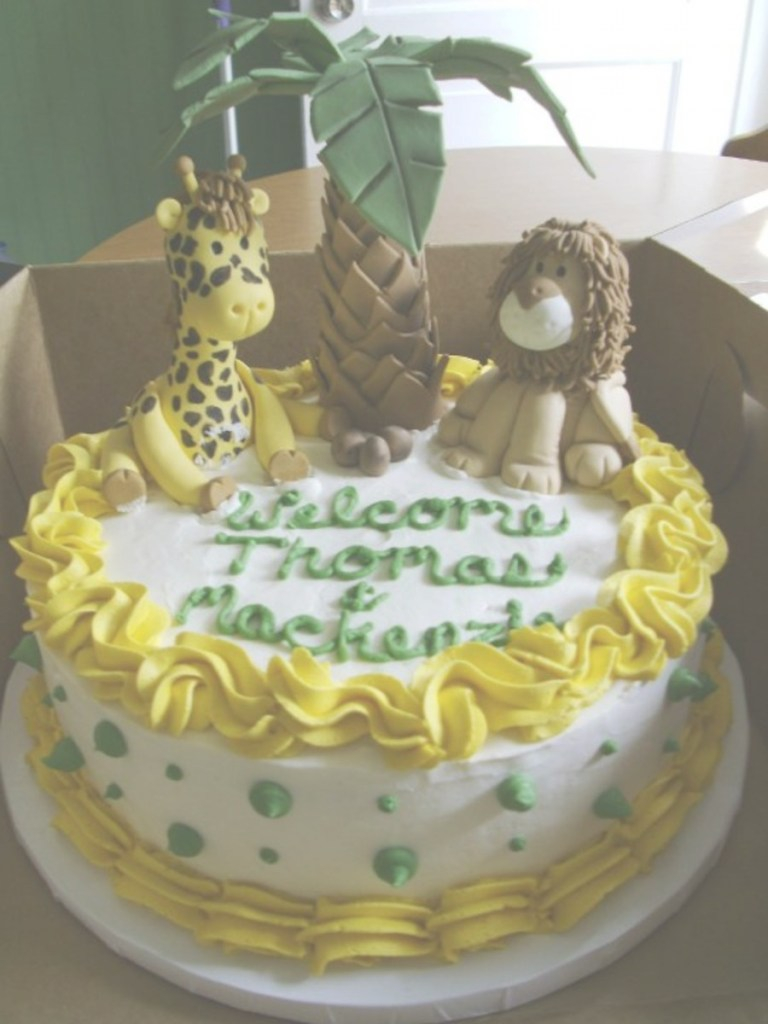 Lovely Jungle Themed Baby Shower Cake For Twins - Cakecentral throughout Beautiful Jungle Baby Shower Cake