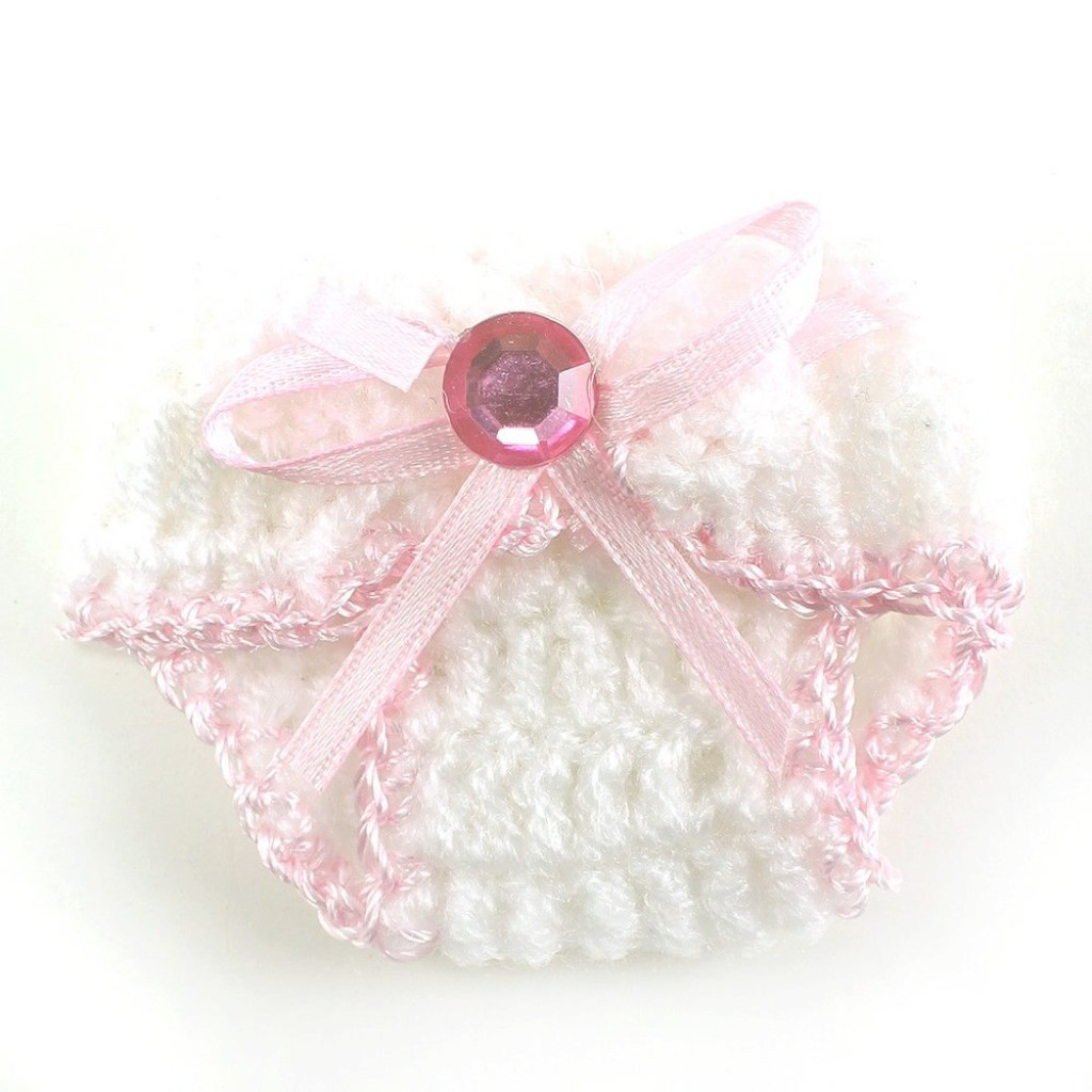 "Lovely Knit Crochet Baby Diaper Baby Shower Decoration Favor 2.5"" (Pack Of with Crochet Baby Shower Favors"
