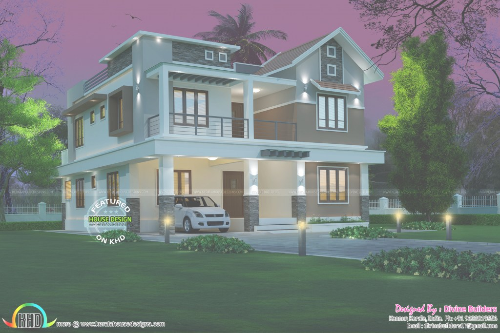 Modern 4 Bedroom Modern House 274 Square Meter - Kerala Home Design And with Elegant Kerala Home Design 2017