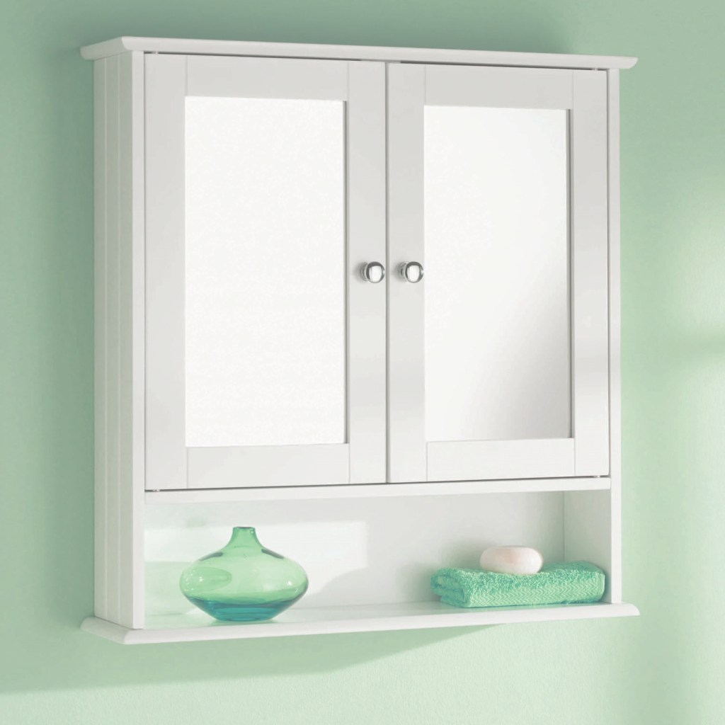Modern Double Door Mirror Shelf Wall Mounted Wood Storage Bathroom regarding Bathroom Wall Cabinet With Mirror