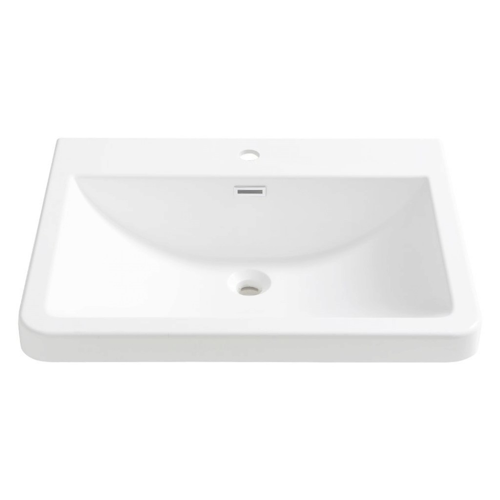 Modern Fresca Milano 26 In. Drop-In Acrylic Bathroom Sink In White With in Acrylic Bathroom Sink