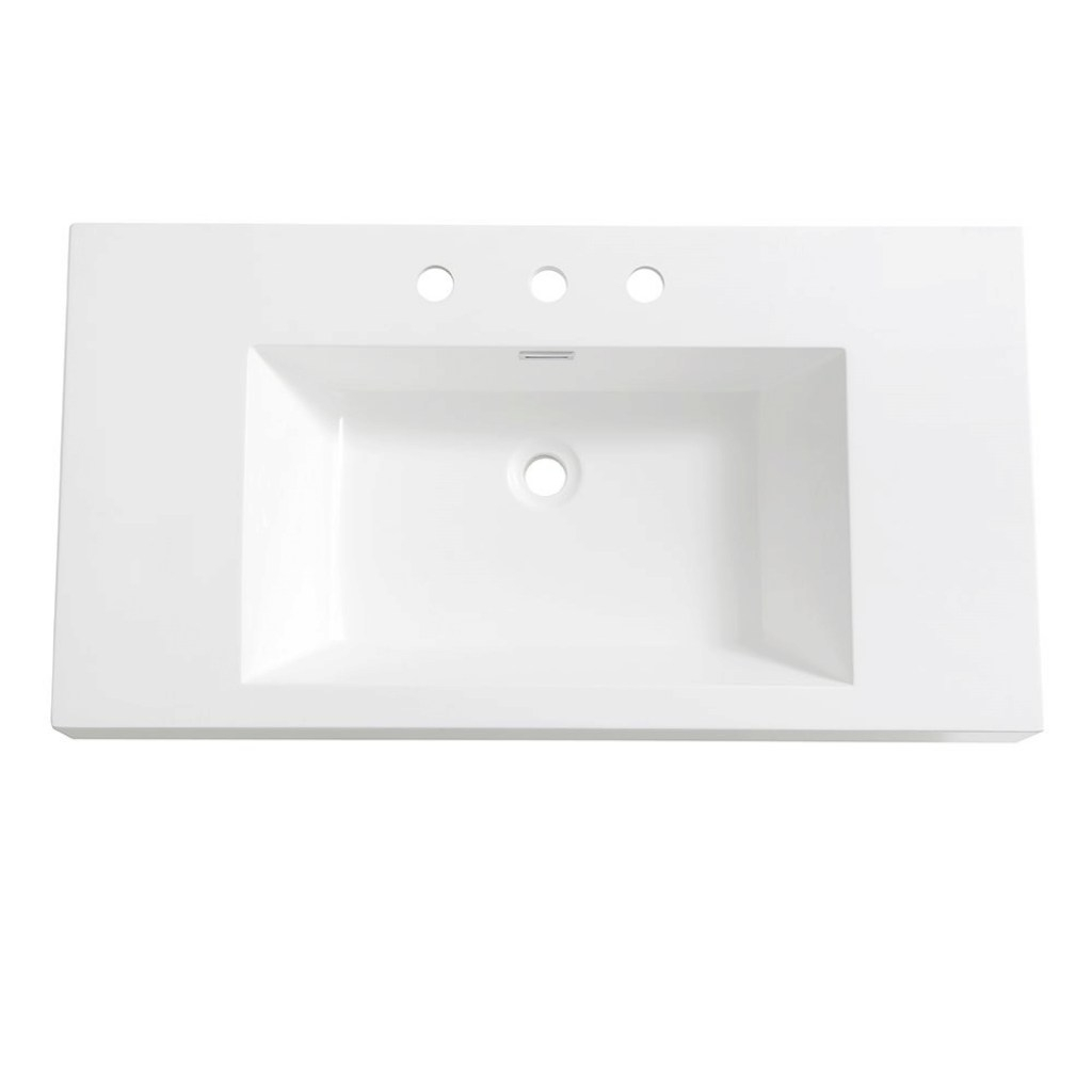 Modern Fresca Vista 36 In. Drop-In Acrylic Bathroom Sink In White With pertaining to Acrylic Bathroom Sink
