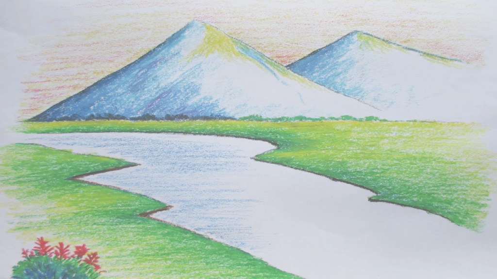 Modular Beginners Mountain Landscape Drawing With Oil Pastel - Youtube with Landscape Drawing Images