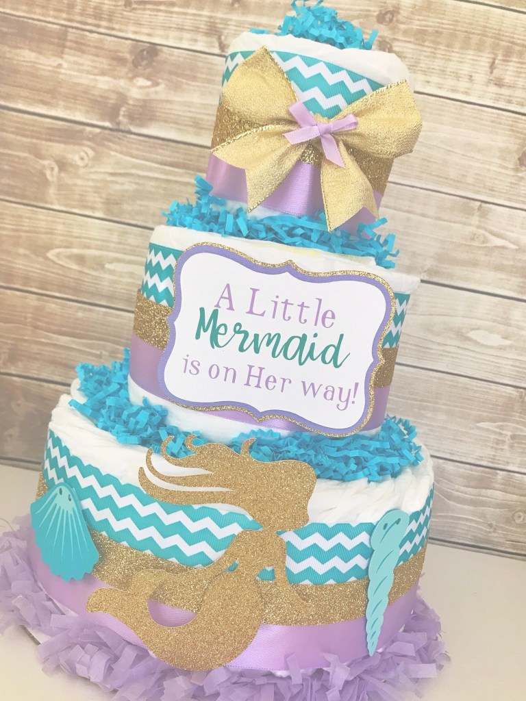 Modular Mermaid Baby Shower Diaper Cake A Little Mermaid Is On Her | Etsy within Inspirational Mermaid Baby Shower Cake