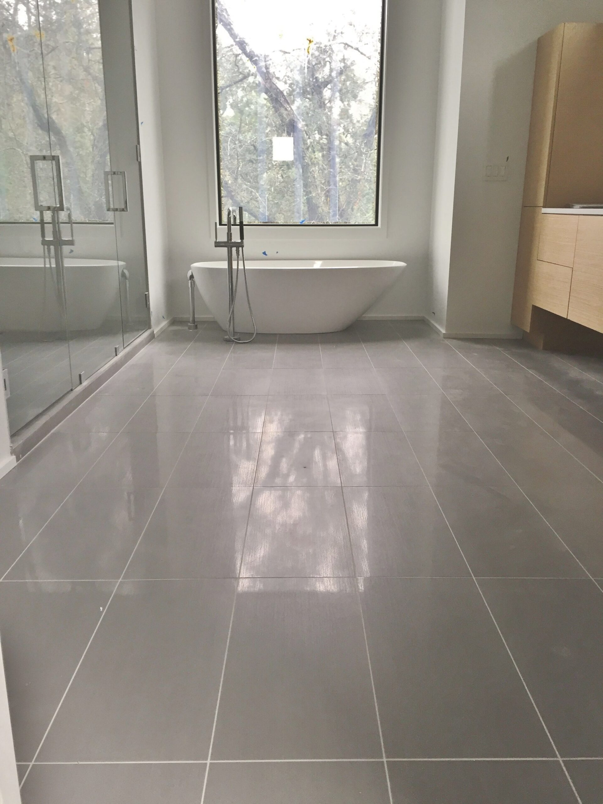 12X24 Porcelain Tile On Master Bathroom Floor. | Patterned in 12X24 Tile In Small Bathroom