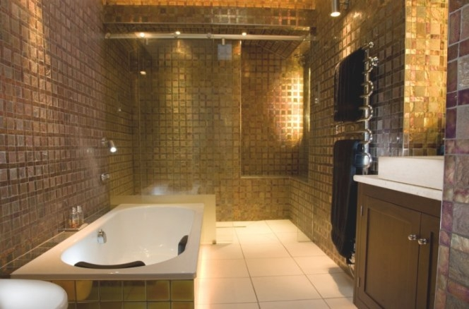 16+ Gold Tile Bathroom Designs, Decorating Ideas | Design inside Brown And Gold Bathroom