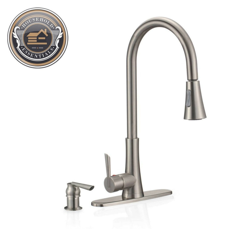 "19"" Brushed Nickel Pull Down Kitchen Faucet With Sprayer for Brushed Nickel Kitchen Faucet"