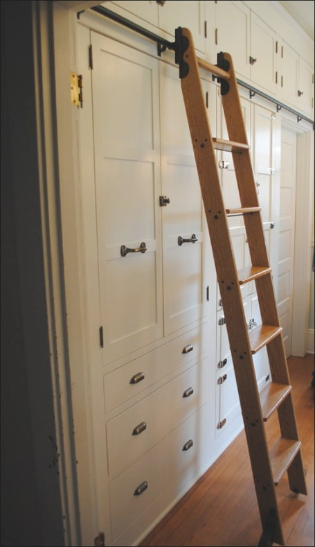 1909 Kitchen Wall Of Built-Ins | The Library Ladder Wasn'T intended for Library Ladder In Kitchen