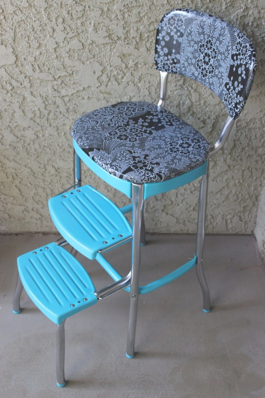 1950'S Turquoise Blue Cosco Step Stoolbittybowling On regarding Turquoise Bar Stools Kitchen