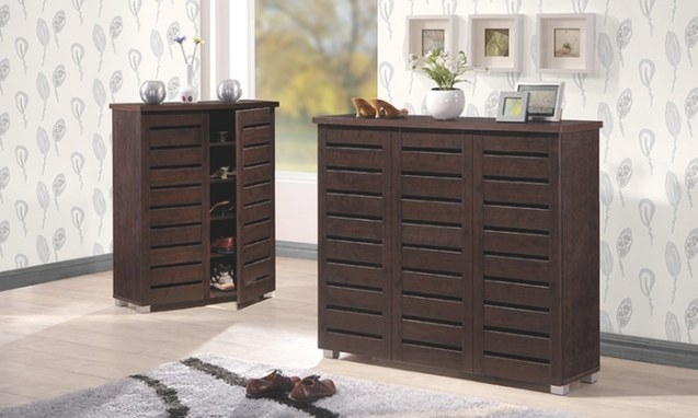 2- Or 3-Door Dark-Brown Shoe Cabinet | Groupon with Shoe Cabinet With Doors