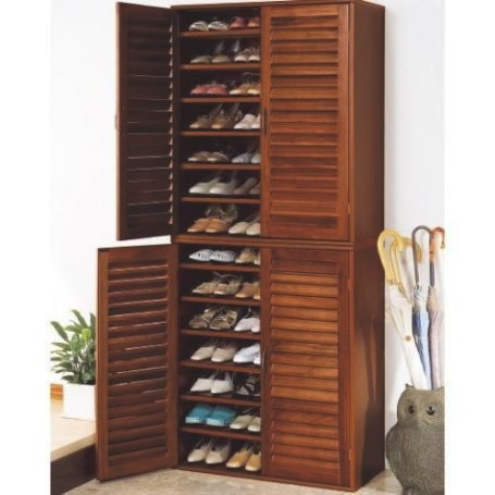 21 Pair Wooden Shoe Cabinet With Adjustable Shelves | Buy with Shoe Cabinet With Doors