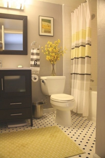 22 Bathrooms With Yellow Accents - Messagenote regarding Black And Gray Bathroom