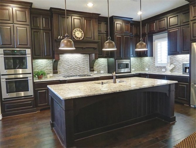 25 Traditional Dark Kitchen Cabinets | Wood Floor Kitchen regarding Dark Brown Kitchen Cabinets