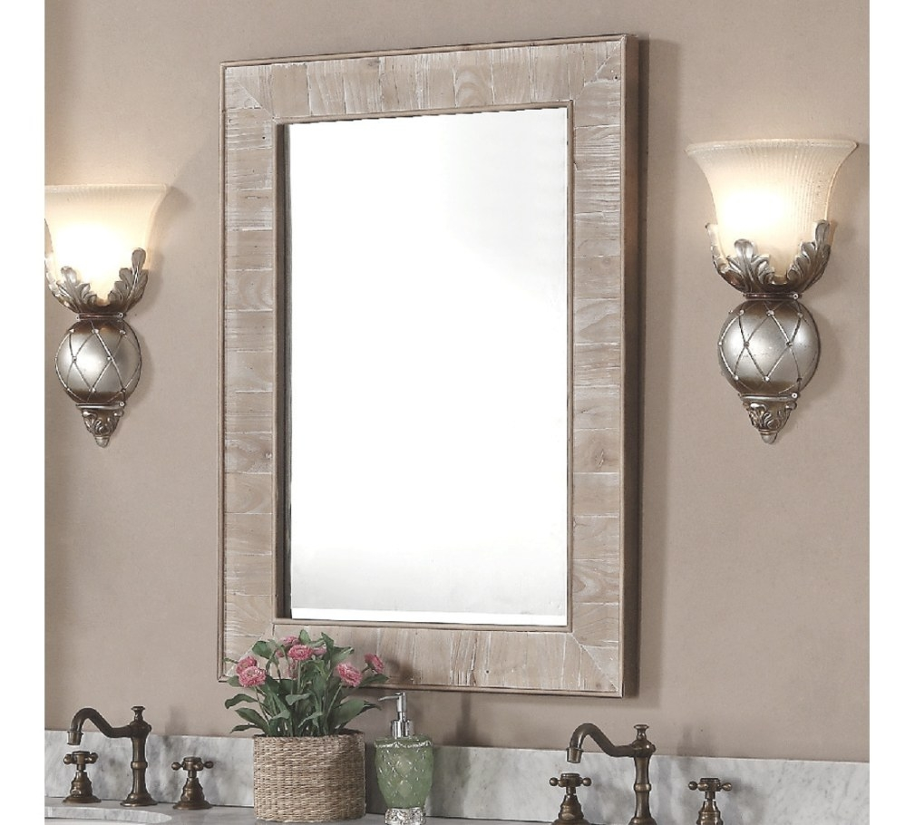 26 Inches Rectangular Rustic Bathroom Mirror intended for Rectangular Mirrors For Bathroom