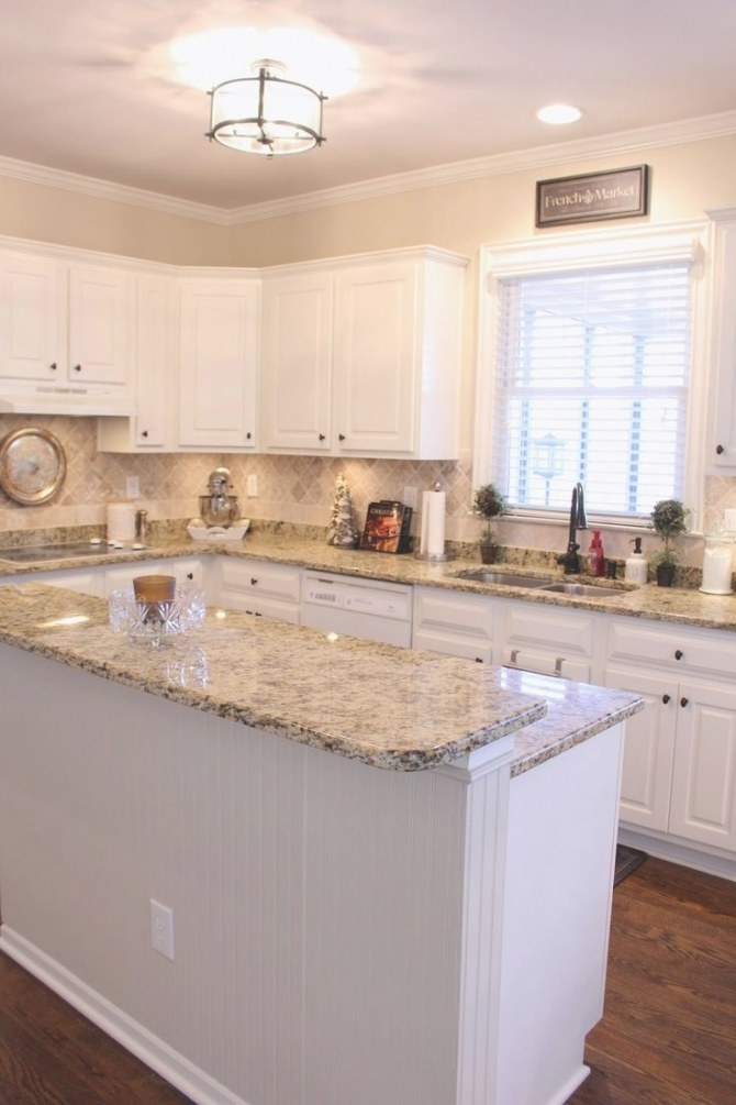 274 Best Granite With White Cabinets Images On Pinterest with White And Beige Kitchen