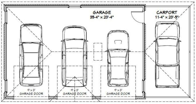 3 Car Garage Dimensions Standard - Google Search | Cochera in Size Of 2 Car Garage