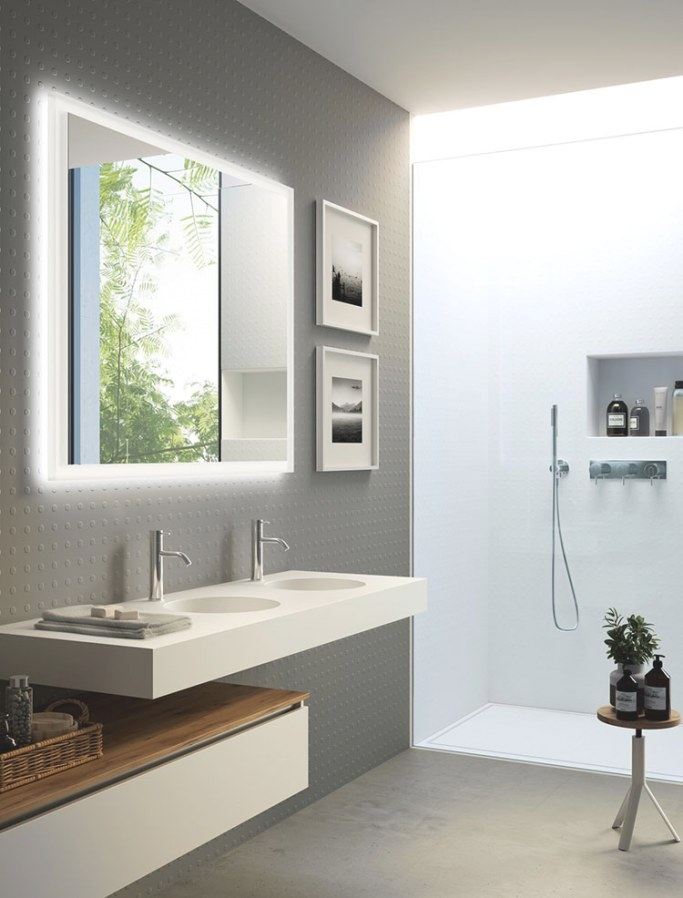 35 Foto Di Bagni Con Doppio Lavabo Dal Design Elegante E pertaining to White And Grey Bathroom