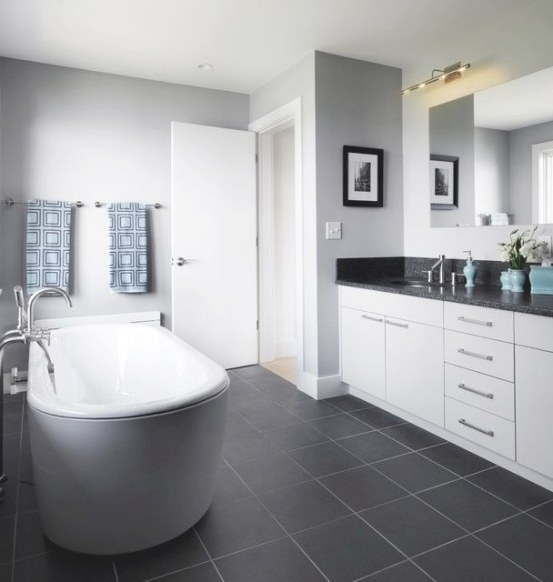 39 Dark Grey Bathroom Floor Tiles Ideas And Pictures pertaining to Black And Gray Bathroom