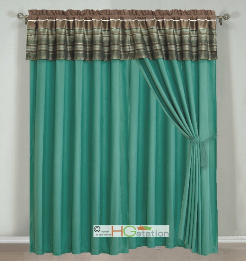 4-Pc Woodland Jacquard Striped Curtain Set Teal Brown with regard to Teal And Brown Bathrooms