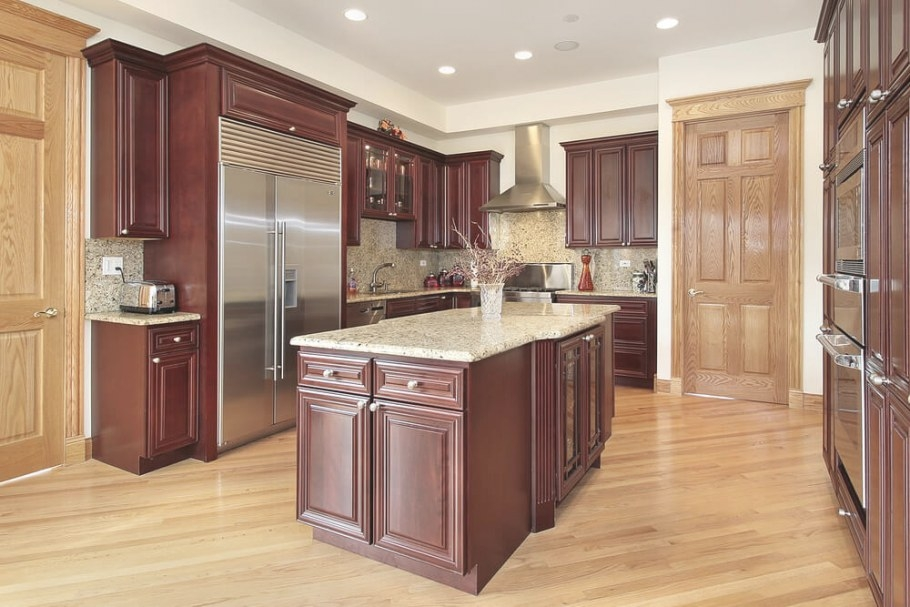"43 ""New And Spacious"" Darker Wood Kitchen Designs & Layouts with regard to Cherry Wood Cabinet Kitchens"