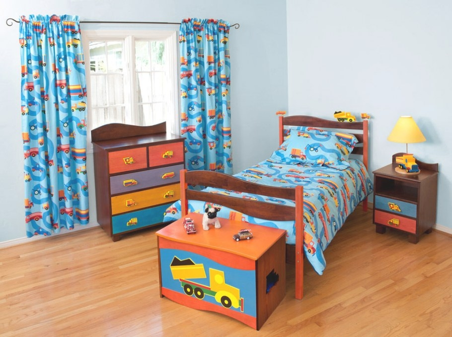 5 Piece Boys Like Trucks Bedroom Set - Chocolate Finish | Ebay with Pictures Of Boys Bedrooms