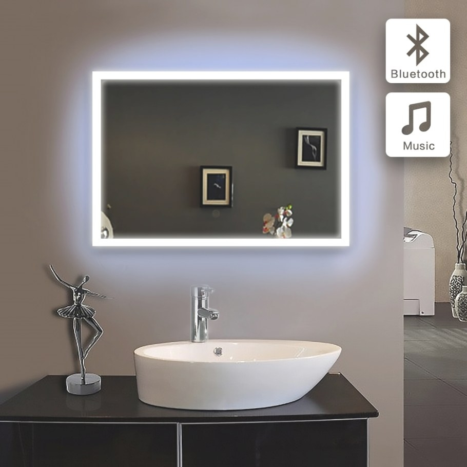 50X70Cm Bath Mirror In Bathroom Bluetooth Illuminated Led regarding Led Lighted Mirrors Bathrooms