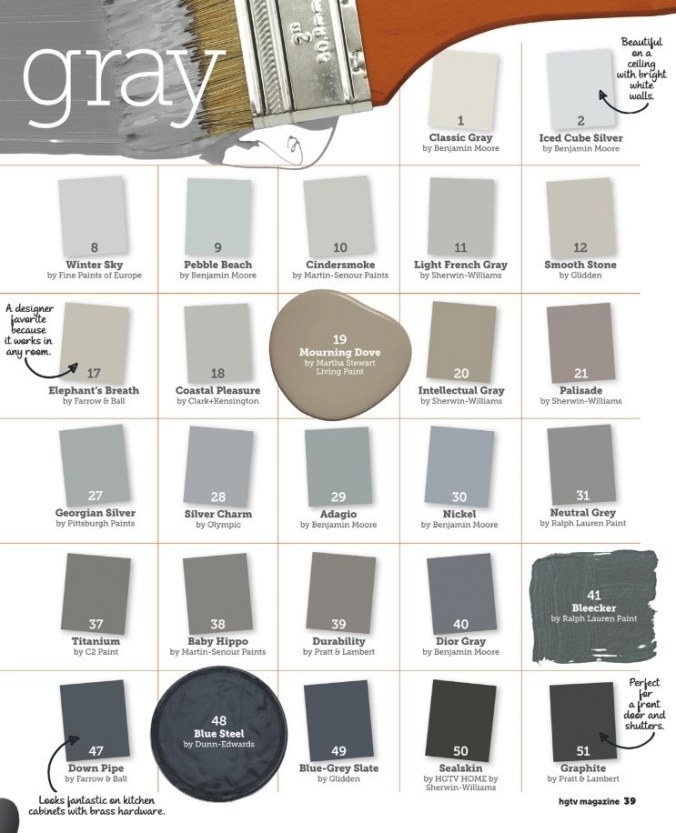 51 Shades Of Grey From Hgtv Magazine | Paint Colors For with regard to Shades Of Grey Color