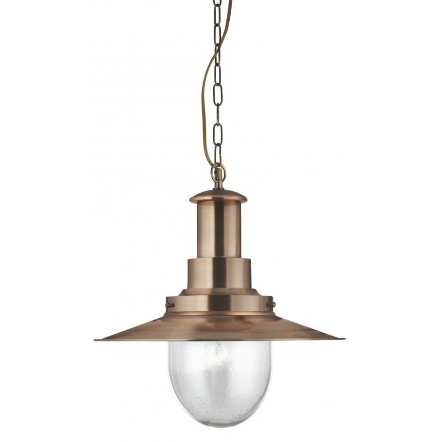 5301Cu Searchlight Fisherman Pendant Light In Antique regarding Seeded Glass Pendant Light