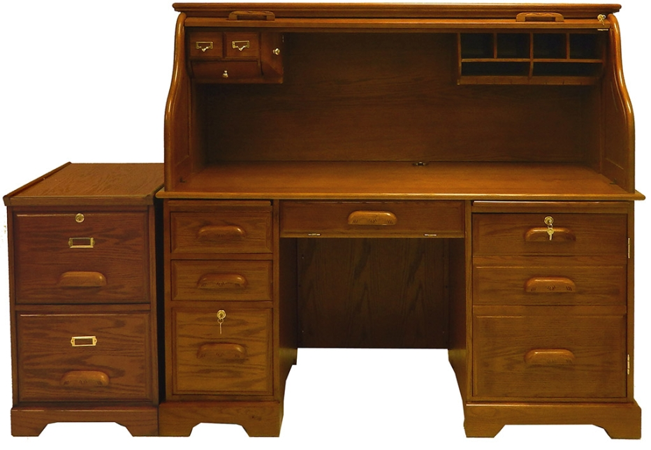 "59""W Oak Roll Top Computer Desk - In Stock! regarding Oak Roll Top Desk"