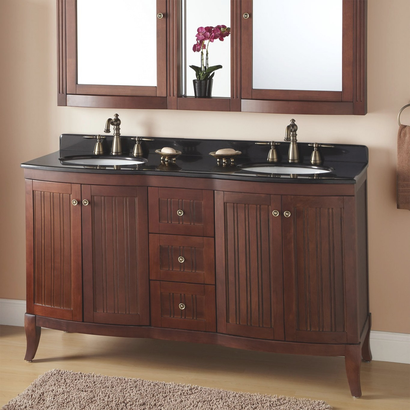 "60"" Palmetto Brown Cherry Double Vanity - Bathroom throughout Black And Tan Bathroom"