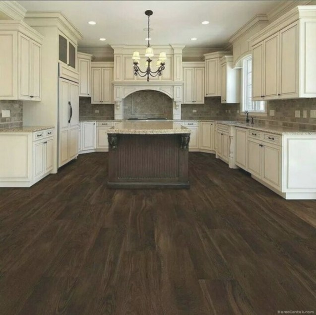 75+ Amazing Cream Dark Wood Kitchens Ideas - Homecantuk inside Dark Hardwood Floors Kitchen