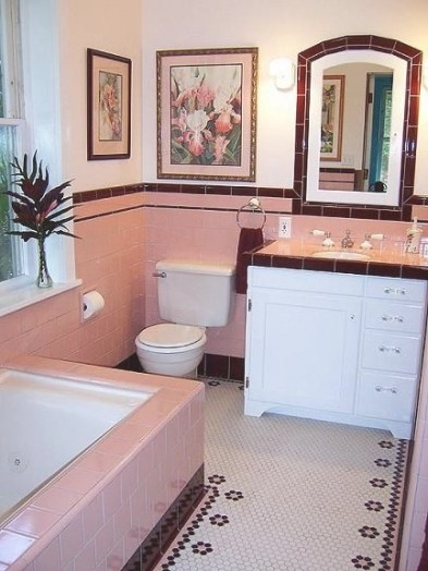 75 Best What To Do With A 50'S Pink Bathroom? Images On in Pink And Brown Bathroom