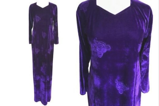 90S Royal Purple Violet Velour Burned Roses Dress Grunge in Fair Bianca Rose For Sale In Usa