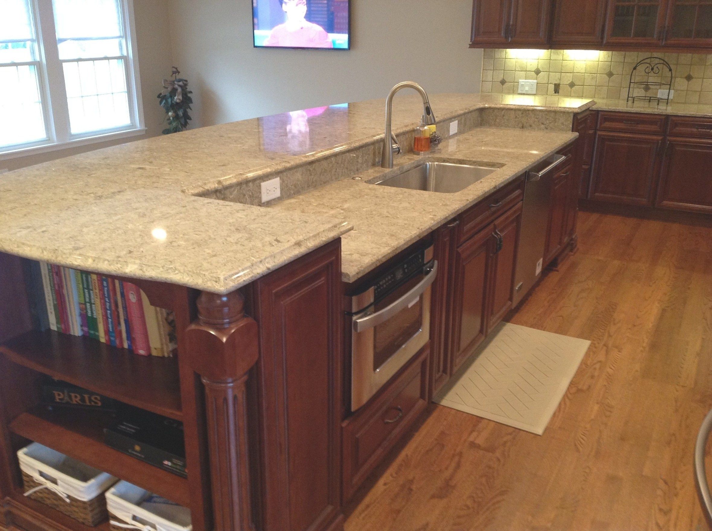 A 12' Island Contains The Sink, Dishwasher And Microwave intended for Kitchen Island With Sink