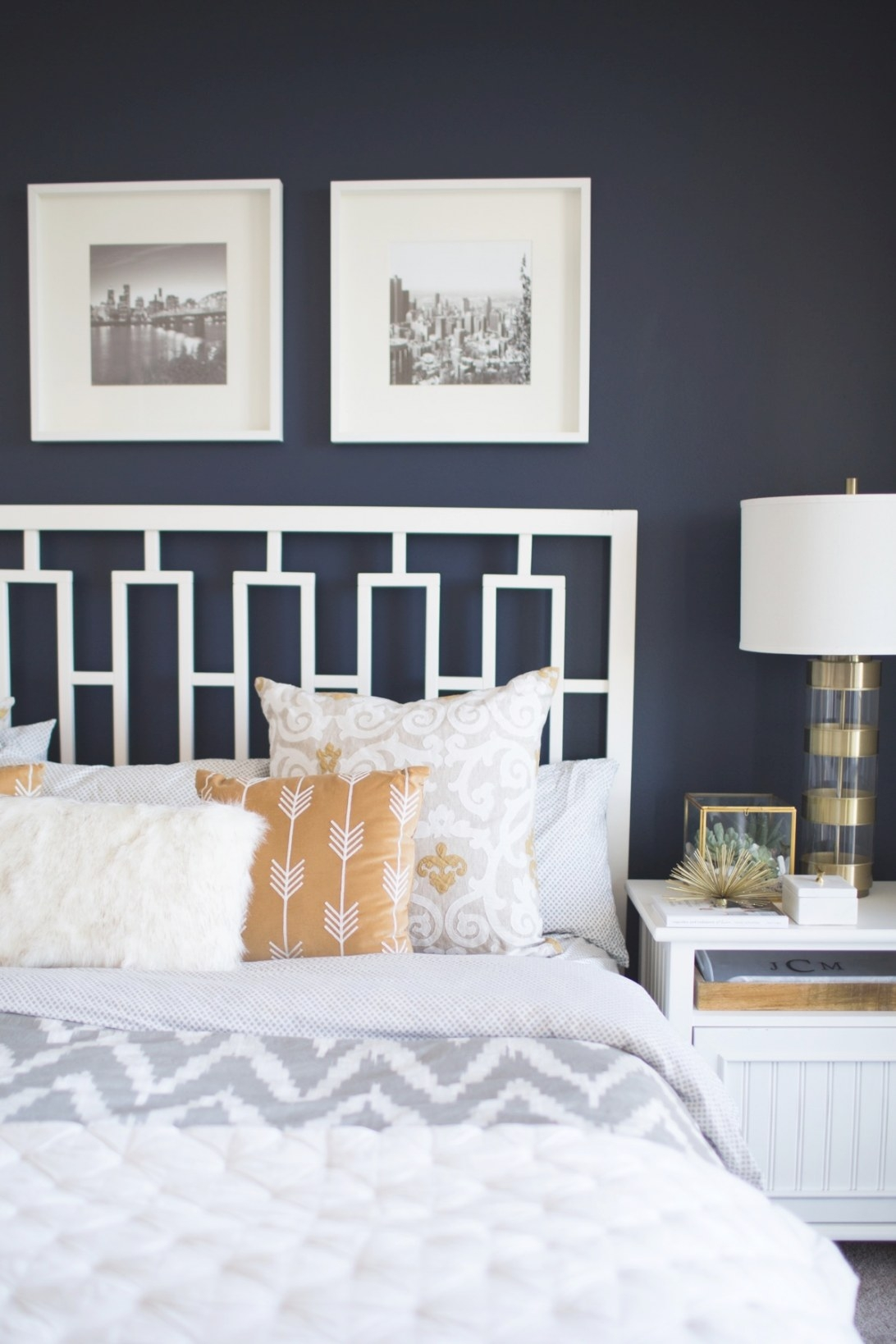 A Look Inside A Blogger'S Navy And Mustard Bedroom - My intended for Navy And Coral Bedroom
