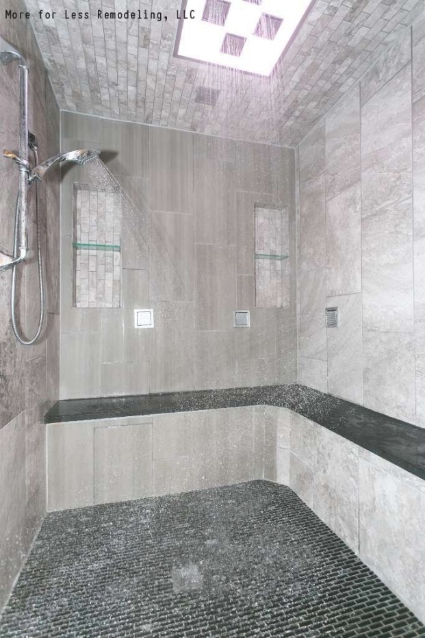 A Modern Walk In Shower With A Large Shower Bench And for Walk In Shower With Bench