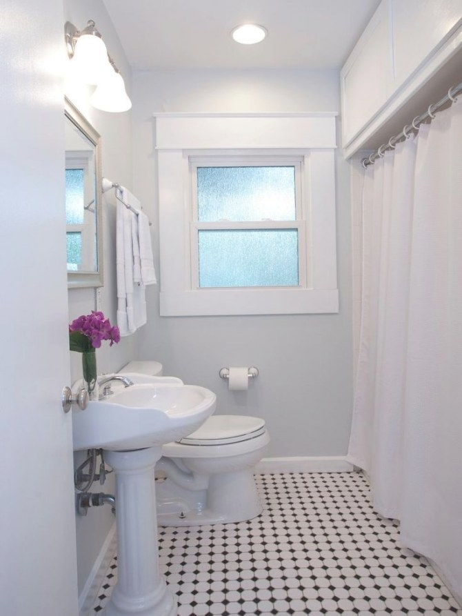 A Soft, Neutral Paint Color Instantly Lightens The Space inside Picture Of A Bathroom