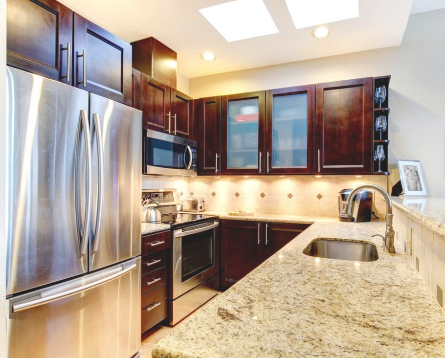 Accentuate Small Kitchens With Dark Cabinets Los Angeles inside Dark Brown Kitchen Cabinets