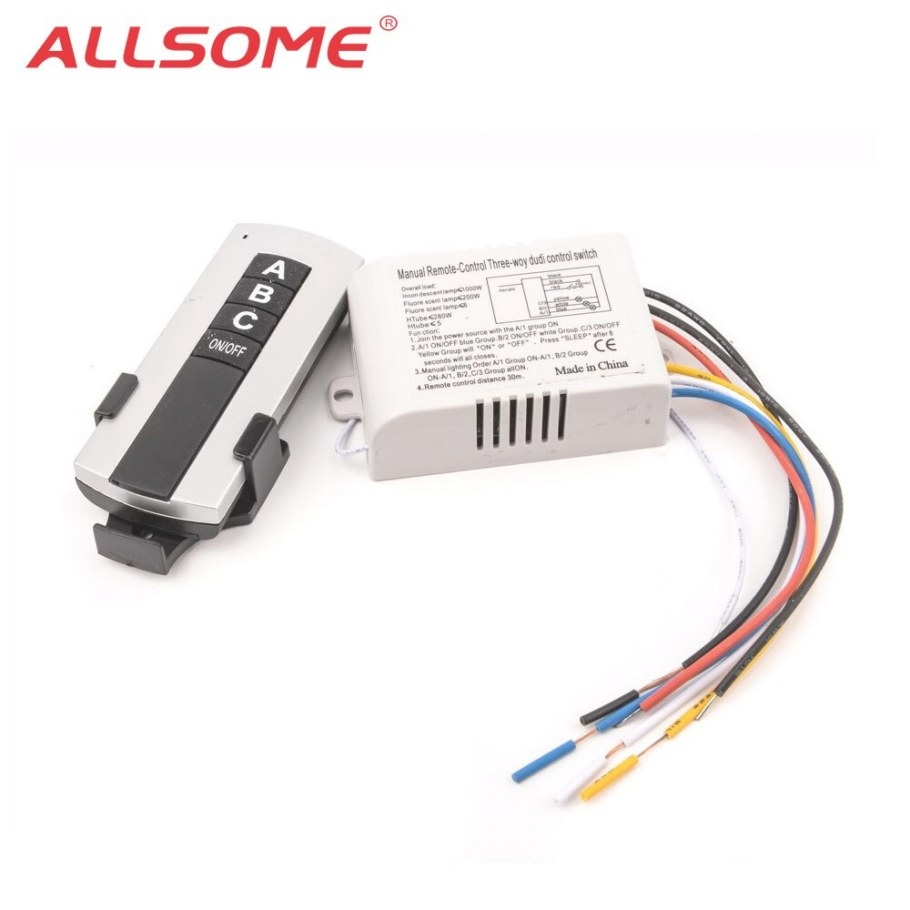 Allsome 3 Way Port On/Off Wireless Digital Rf Remote regarding Wireless 3 Way Switch
