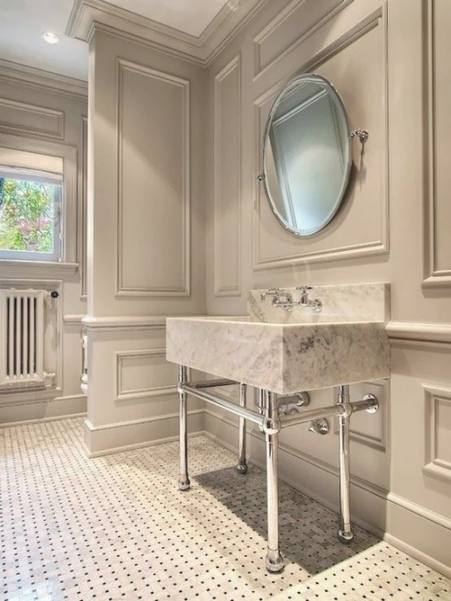 Amazing Millwork Sets The Tone | Eclectic Bathroom, Wall with regard to Crown Moulding In Bathroom