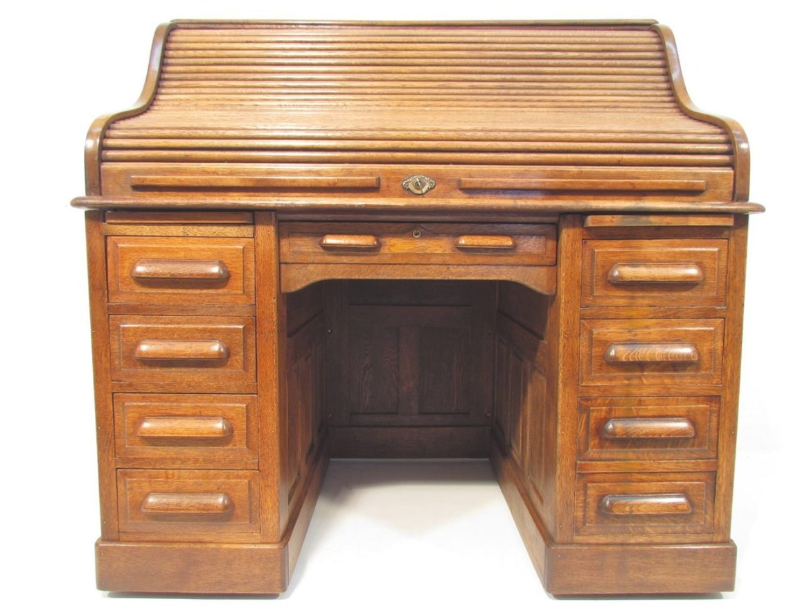 Antique Golden Oak Roll Top Desk C 1910 | Ebay intended for Oak Roll Top Desk