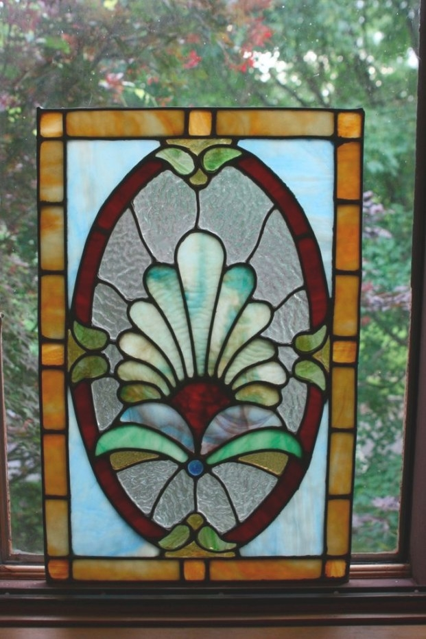 Antique Stained Glass Window Panel Arts Crafts Art Nouveau throughout Craftsman Stained Glass Panel Collection