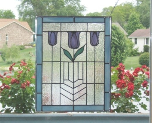 Arts And Crafts Flower Stained Glass Window Panel Blue inside Craftsman Stained Glass Panel Collection