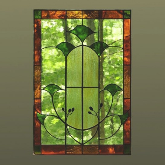 Arts & Crafts Gingko Leaf | Stained Glass Art, Stained inside Craftsman Stained Glass Panel Collection