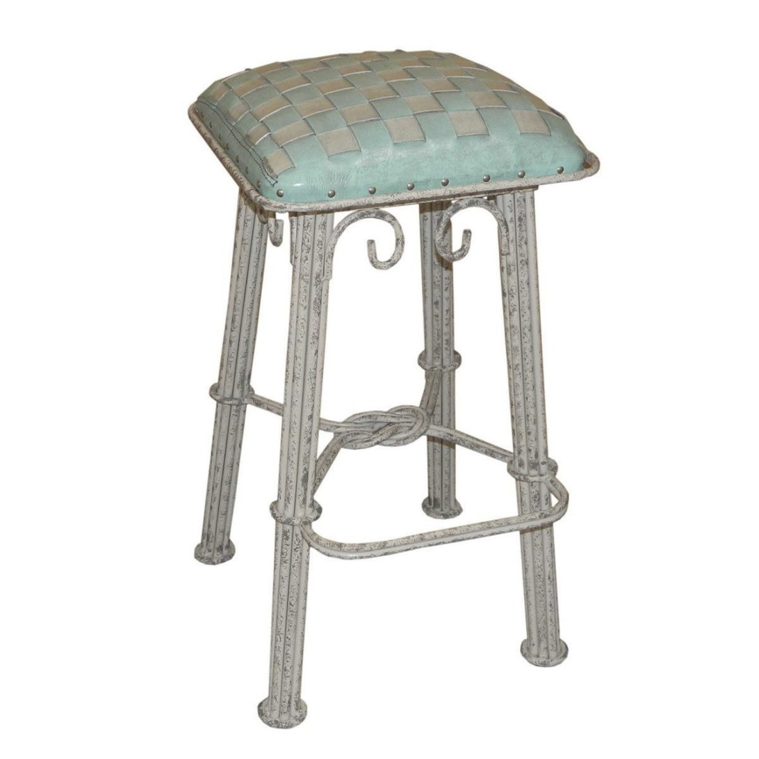 Ash Turquoise Braided Leather Counter Stool - Ash Gray Iron inside Turquoise Bar Stools Kitchen