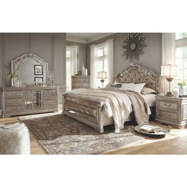 Ashley Birlanny Upholstered Panel Bedroom Set In Silver with regard to Is Ashley Furniture Good Quality